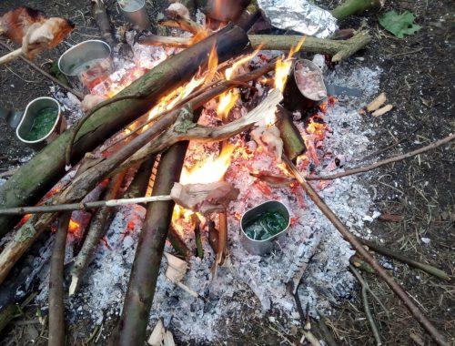 Lagerfeuer mit Eichhörnchen