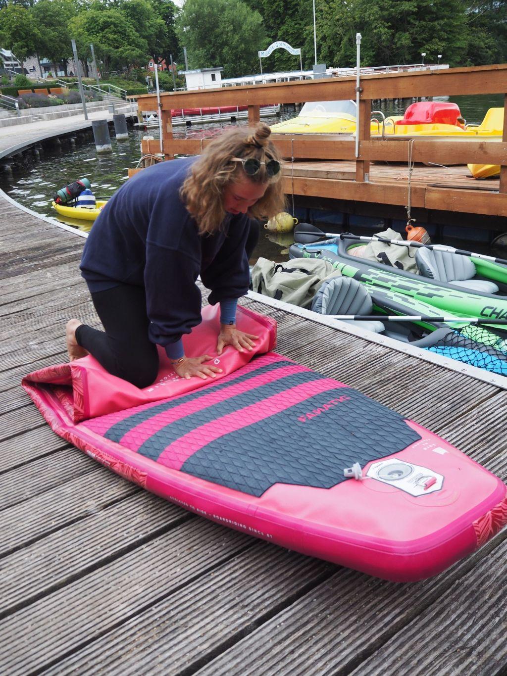 SUP-Boards können klein zusammengefaltet werden