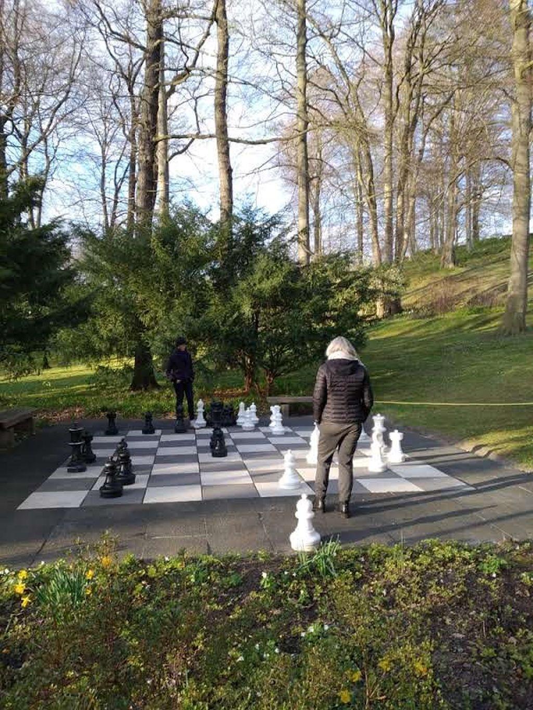 Outdoor-Schach im frühlingsgrünen Kurpark